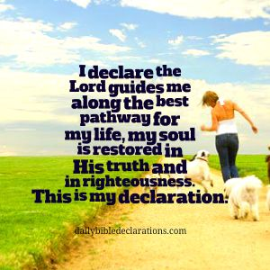 The Lord guides me along th ebest pathway for my life