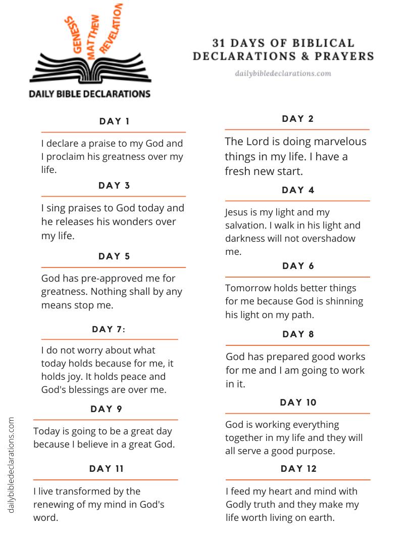 31 Days New Year Declarations & Prayers